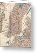 Vintage Map Of New York City - 1867 Greeting Card