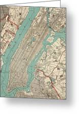 Vintage Map Of New York City - 1890 Greeting Card