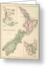 Vintage Map Of New Zealand - 1854 Greeting Card