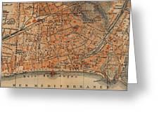 Vintage Map Of Nice France - 1914 Greeting Card