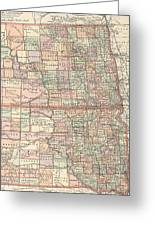Vintage Map Of North And South Dakota - 1891 Greeting Card