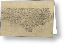 Vintage Map Of North Carolina - 1893 Greeting Card