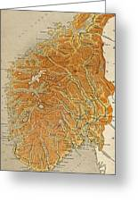 Vintage Map Of Norway - 1914 Greeting Card