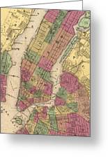Vintage Map Of Nyc And Brooklyn - 1868 Greeting Card