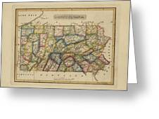 Antique Map Of Pennsylvania Greeting Card