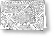 Vintage Map Of Pittsburgh - 1885 Greeting Card