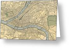 Vintage Map Of Pittsburgh Pa - 1891 Greeting Card