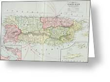 Vintage Map Of Puerto Rico - 1901 Greeting Card