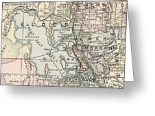 Vintage Map Of Salt Lake City - 1891 Greeting Card