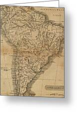 Vintage Map Of South America - 1825 Greeting Card