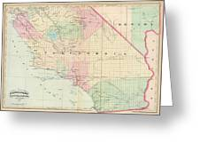 Vintage Map Of Southern California - 1874 Greeting Card