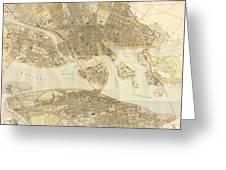 Vintage Map Of Stockholm  Greeting Card