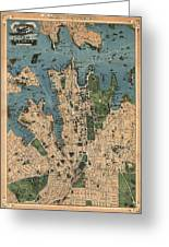 Vintage Map Of Sydney Australia - 1922 Greeting Card