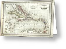 Vintage Map Of The Caribbean - 1852 Greeting Card
