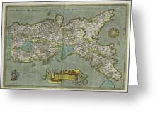 Vintage Map Of The Kingdom Of Naples - 1608 Greeting Card