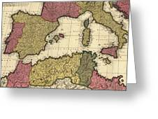Vintage Map Of The Mediterranean - 1695 Greeting Card