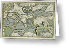 Vintage Map Of The Mediterranean Sea - 1608 Greeting Card
