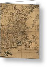 Vintage Map Of The New England Coast - 1771 Greeting Card