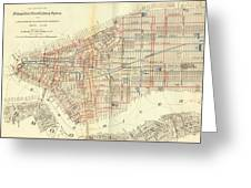 Vintage Map Of The Nyc Railways  Greeting Card