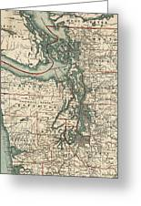 Vintage Map Of The Puget Sound - 1910 Greeting Card