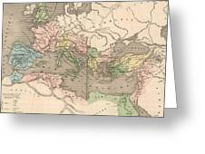 Vintage Map Of The Roman Empire - 1838 Greeting Card