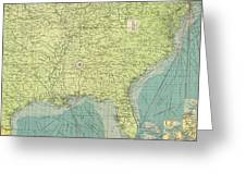 Vintage Map Of The Southeastern U.s. Ports - 1922 Greeting Card