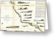 Vintage Map Of The U.s. West Coast - 1853 Greeting Card