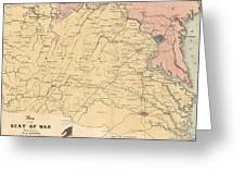Vintage Map Of The Virginia Battlefields - 1861 Greeting Card