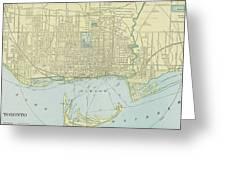 Vintage Map Of Toronto - 1901 Greeting Card
