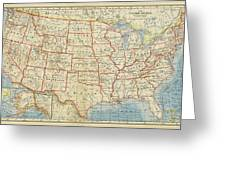 Vintage Map Of United States, 1883 Greeting Card