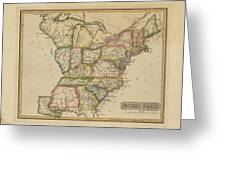 Antique Map Of United States Greeting Card