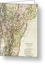 Vintage Map Of Vermont - 1797 Greeting Card