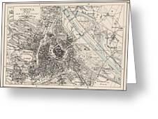 Vintage Map Of Vienna Austria - 1906 Greeting Card