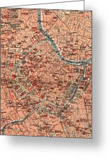 Vintage Map Of Vienna Austria - 1920 Greeting Card