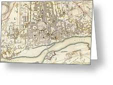 Vintage Map Of Warsaw Poland - 1831 Greeting Card