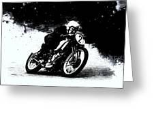 Vintage Motorcycle Racer Greeting Card