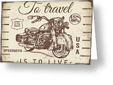 Vintage Motorcycling Mancave-a Greeting Card