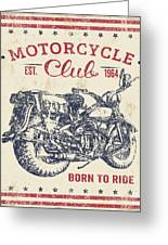 Vintage Motorcycling Mancave-b Greeting Card