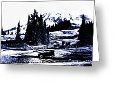 Vintage Mount Rainier With Antique Car Early 1900 Era... Greeting Card