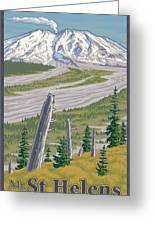 Vintage Mount St. Helens Travel Poster Greeting Card