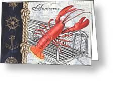 Vintage Nautical Lobster Greeting Card