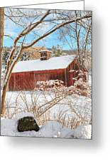 Vintage New England Barn Portrait Greeting Card by Bill Wakeley