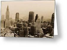 Vintage New York City Skyline Photograph - 1935 Greeting Card