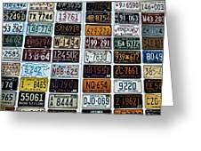 Vintage Number Plates Greeting Card