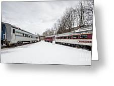 Vintage Passenger Train Cars In Winter Greeting Card