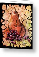 Vintage  Pear And Grapes Fresco   Greeting Card