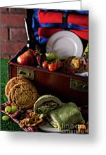 Vintage Picnic With A Splash Of Color Greeting Card
