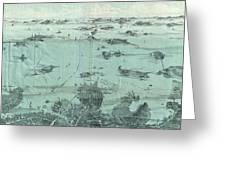 Vintage Pictorial Map Of Boston Harbor  Greeting Card