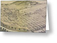 Vintage Pictorial Map Of El Paso Texas - 1886 Greeting Card