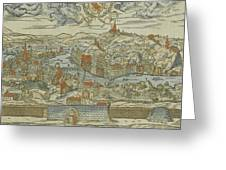 Vintage Pictorial Map Of Lyon France - 1555 Greeting Card